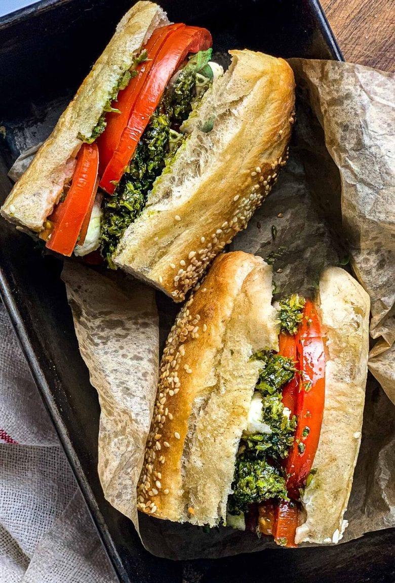 Tomato Basil Sandwich with Arugula Pesto and fresh Mozzarella Cheese - a delicious easy lunch!