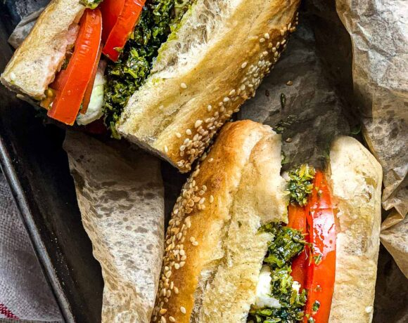 Tomato Basil Sandwich with Arugula Pesto and fresh Mozzarella Cheese - a delicious easy lunch!