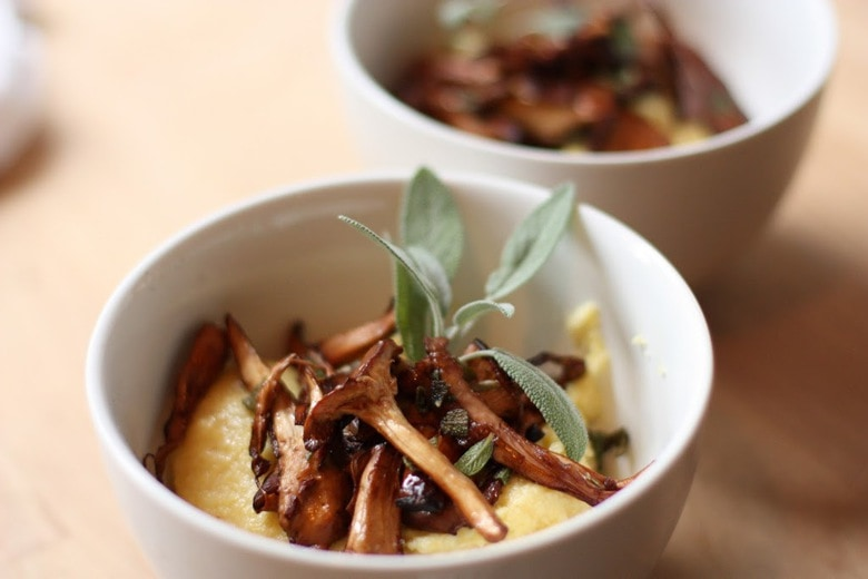 Creamy Polenta with Mushrooms, Garlic and Sage- a bowl of comfort food, perfect for fall!