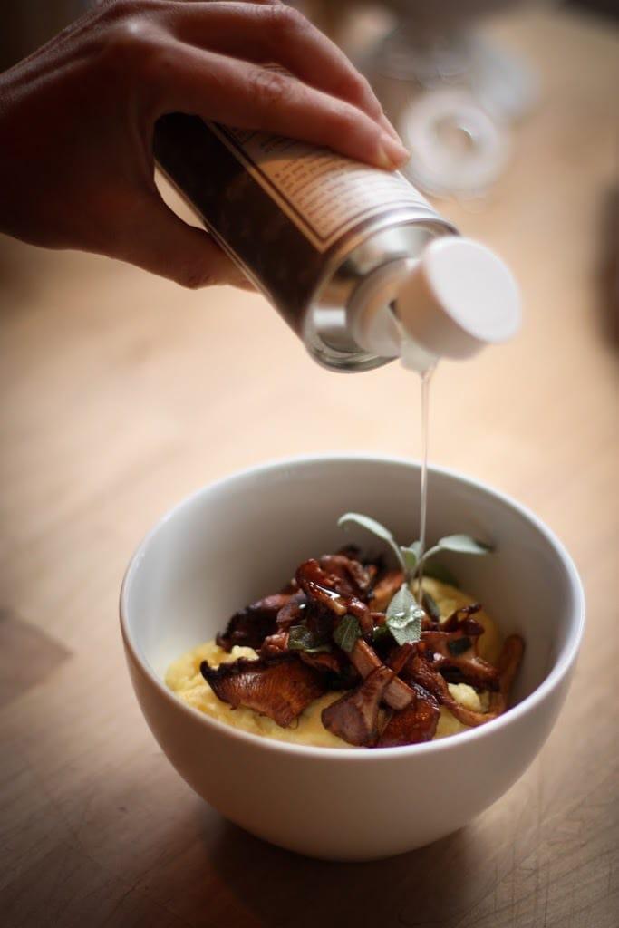 Creamy Polenta with Mushrooms, Garlic and Sage