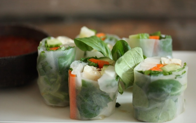 Spring Rolls With Tofu Avocado Radish And Mint Feasting At Home