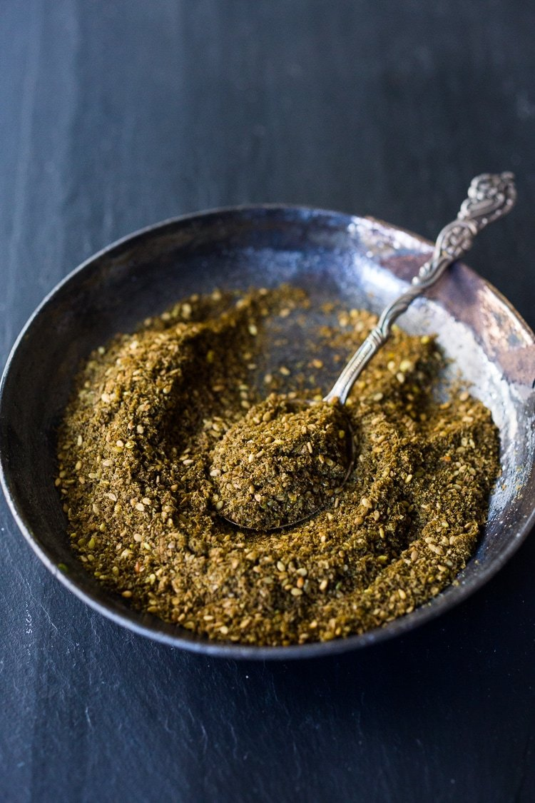 A simple recipe for Za'atar, a flavorful Middle Eastern spice blend that can be used in a multitude of ways.   #zaatar #za'atar #spices # spiceblend www.feastingathome.com