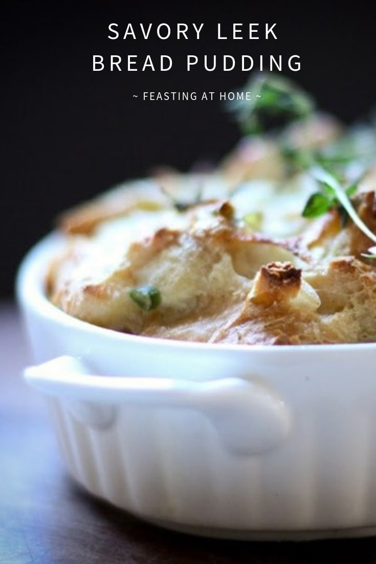 Savory baguette bread pudding