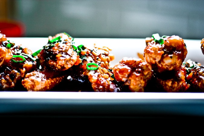 Crispy Korean Wings with Sticky sauce, sesame and scallions.
