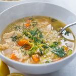 lemony chicken orzo soup with dill