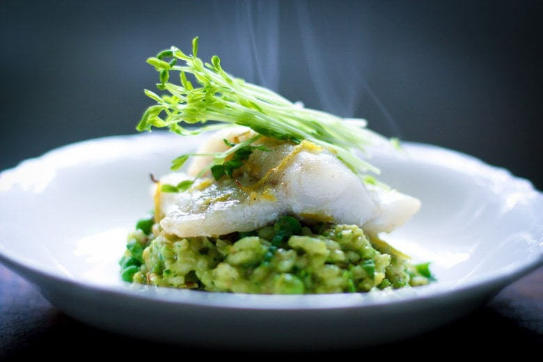 Spring Pea Risotto with Halibut & Spanish Chorizo | Feasting At Home