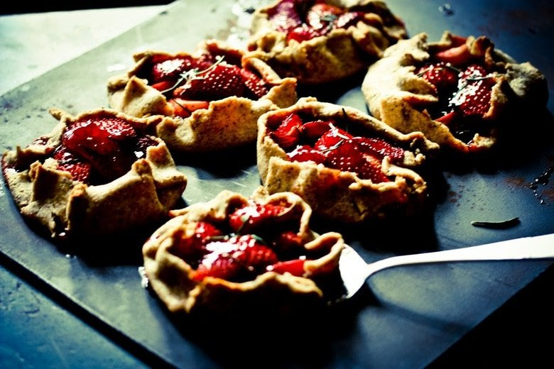 Strawberry Galettes with Rosemary and Rustic Seeded Rye Crust