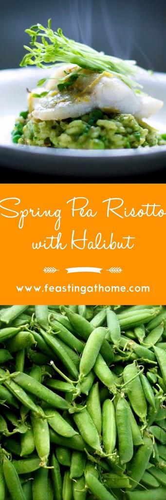 Spring Pea Risotto with Halibut   www.feastingathome.com