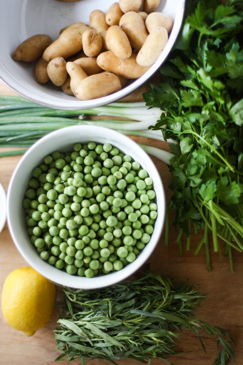 Spring Pea and Potato Salad with a Tarragon-Mustard Seed Dressing.