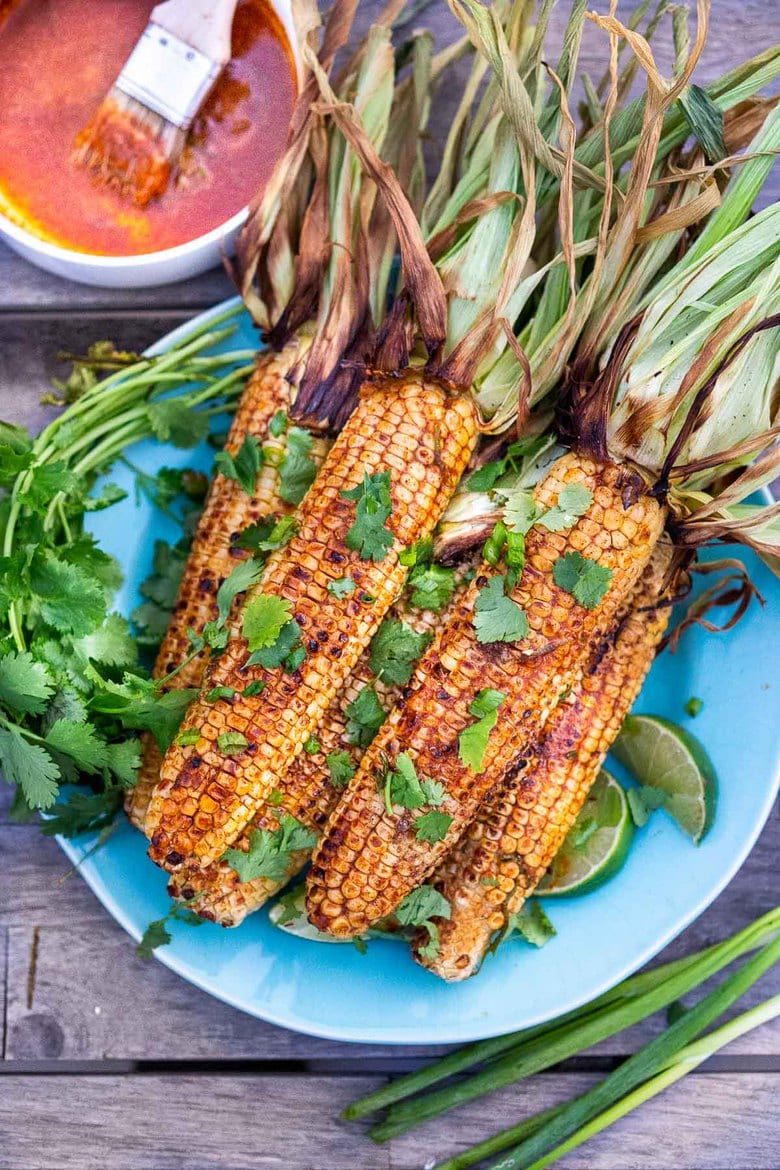 Grilled Corn on the Cob with Chipotle Lime Butter.
