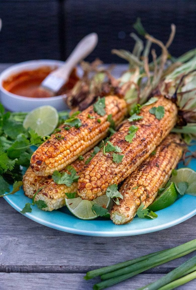 Grilled Mexican Corn on the Cob with Chipotle Lime Butter.