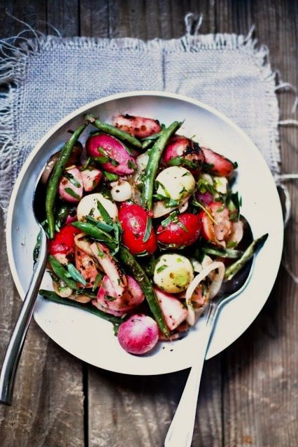 Grilled Radishes with Sweet Onions, Green beans and a simple Tarragon Vinaigrette, a delicious easy Spring recipe| www.feastingathome.com