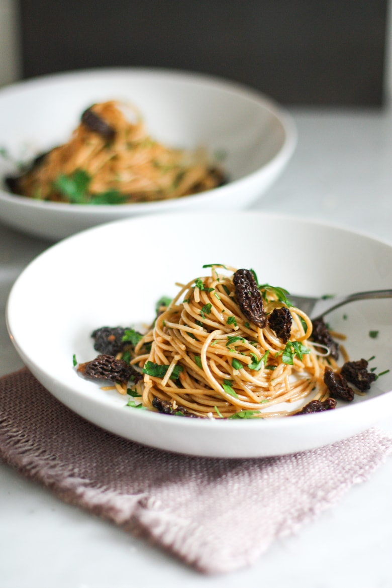 Spaghetti with Morels and Miso Brown Butter Sauce, and simple delicious meal highlighting morel's special flavor.
