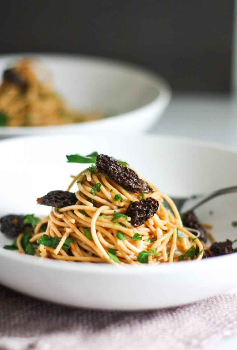 pasta with fresh morels