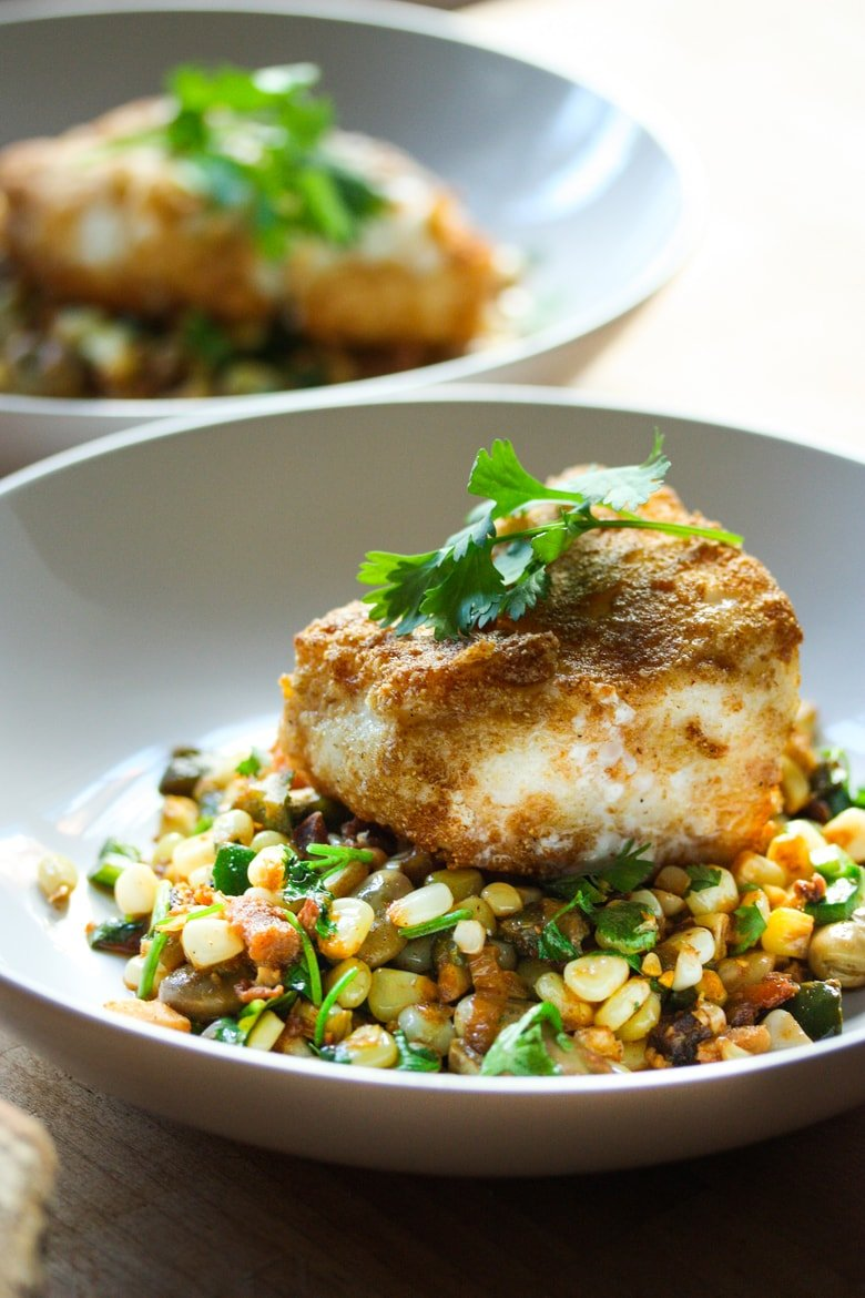 Cornmeal Crusted Halibut with Summer Succotash