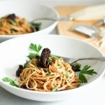 Spaghetti w/ Morel Mushrooms and Miso Brown Butter Sauce | www.feastingathome.com