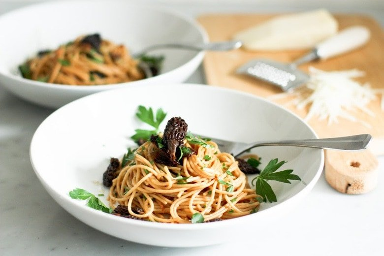 Spaghetti with morels and miso brown butter sauce for Miso sauce for fish