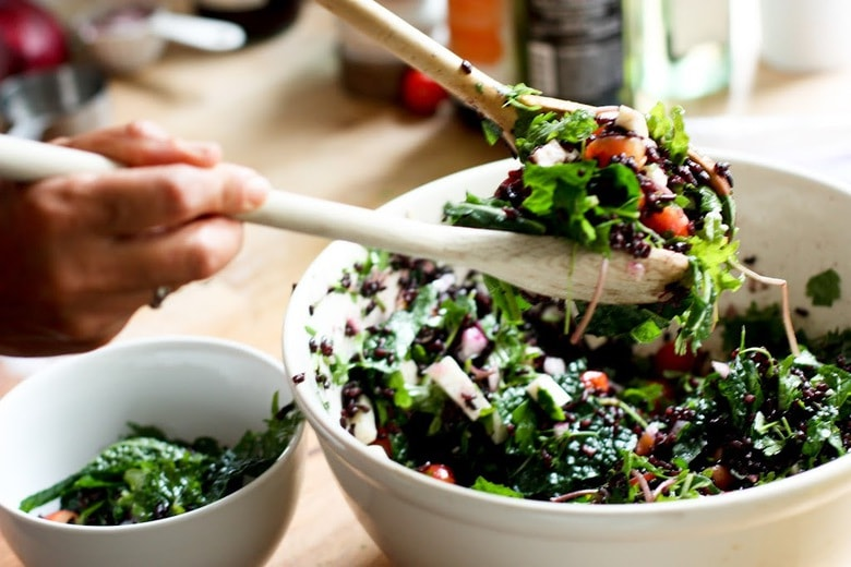 Fresh cherry, black rice and kale salad with haloumi cheese, the perfect summer salad! | www.feastingathome.com