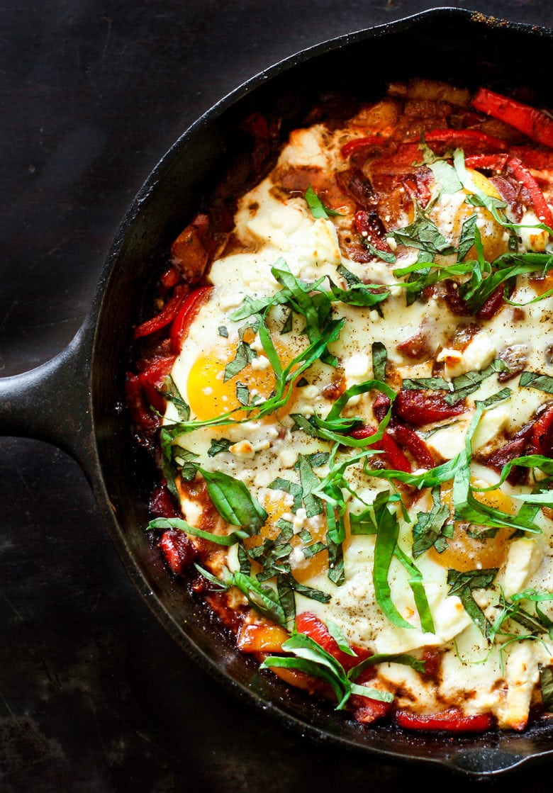 Simple delicious recipe for Shakshuka! Bursting with North African Flavors, this tasty Baked Egg dish makes for a healthy and incredible brunch!