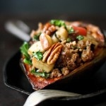 Stuffed Acorn Squash with Sausage, Apple, kale, Parsnips, Pecans and Sage | feastingingathome.com #stuffedsquash #acornsquash #wintersquash #fallrecipes