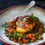 Berebere Chicken and Lentils - a flavorful Ethiopian recipe that features Berebere Spice. #ethiopianfood #ethiopianrecipes #chicken #lenitls #berebere www.feastingathome.com