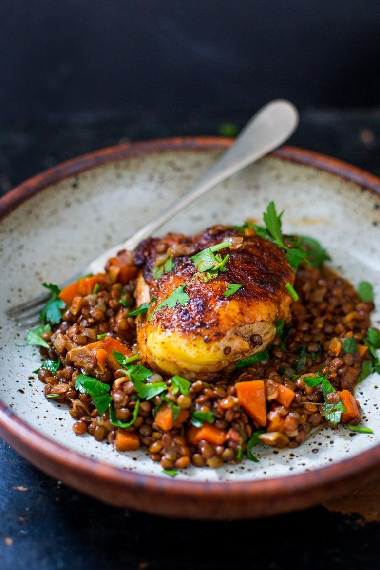 25 Best Lentil Recipes! | Berbere Chicken and Ethiopian Lentils - a flavorful Ethiopian recipe that features Berebere Spice. #ethiopianfood #ethiopianrecipes #chicken #lenitls #berebere www.feastingathome.com