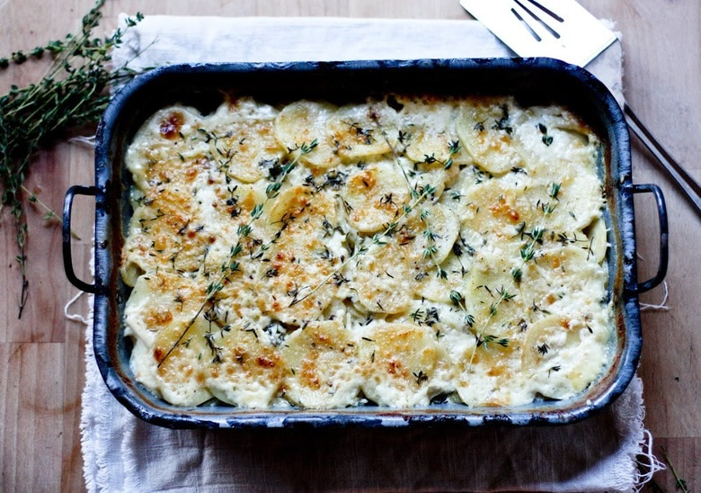 Parsnip Gratin With Gruyere and Thyme | www.feastingathome.com