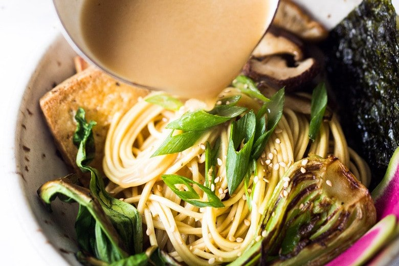 "Vegan Ramen with Miso Shiitake Broth- an easy healthy ramen with mushrooms, tofu, Bok Choy and scallions. Plus a simple tip to making this ""creamy"". #veganramen #easyramen #bestramen #vegetarianramen #ramen"
