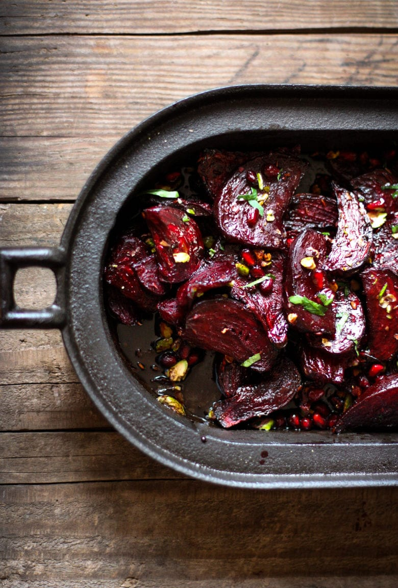 Moroccan Beets with Pomegranate and Pistaccio | feastingathome.com