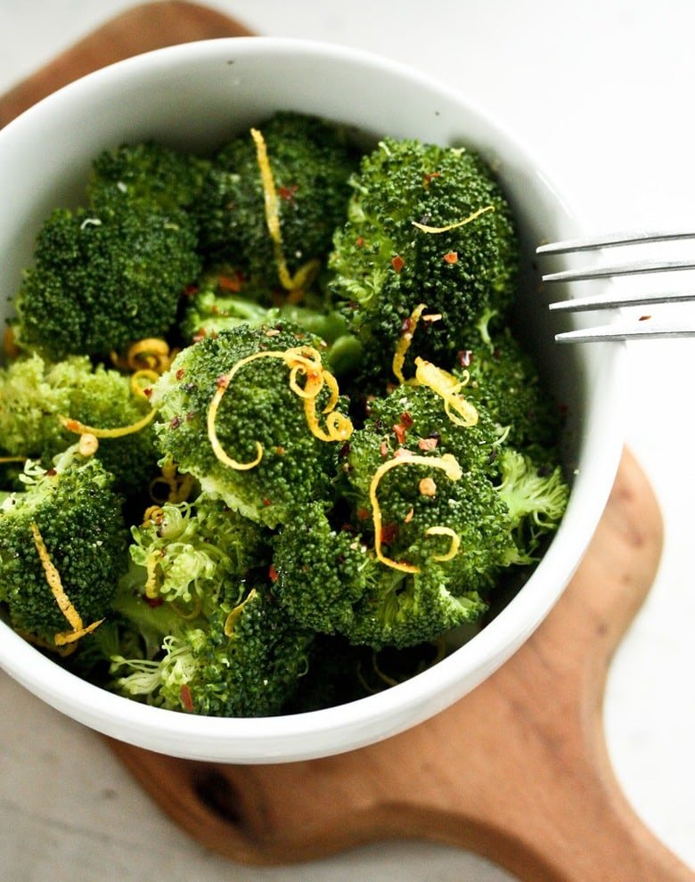 Steamed Broccoli with Lemon Zest and Truffle Oil