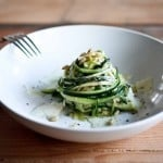 "Zucchini Linguine with garlic, olive oil, toasted pine nuts, basil ribbons & shaved pecorino cheese, a simple delicious GF meal,made w/ Zucchini ""noodles""! 