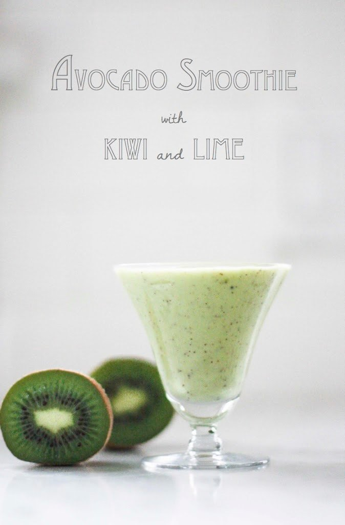 A simple tasty recipe for Avocado Smoothie with Kiwi and lime, sweetened with honey ( or agave). Deliciously addicting and easy to make! | www.feastingathome.com