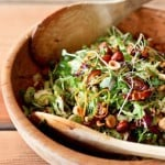 Brussel sprout salad with hazelnuts and dates. A simple vegan salad with incredible flavor!