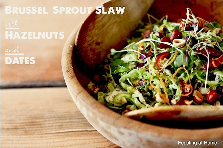 Brussel Sprout Slaw with Hazelnuts and Dates | Feasting At Home