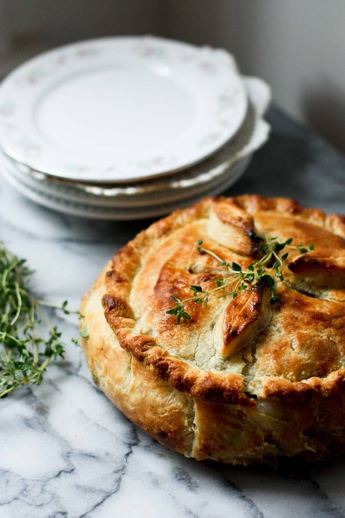 Spring vegetable pot pie | www.feastingathome.com
