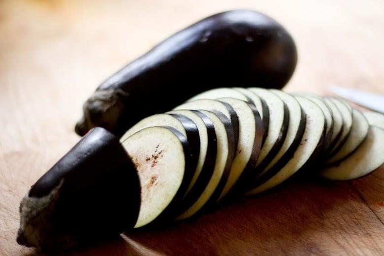 eggplant moussaka prep