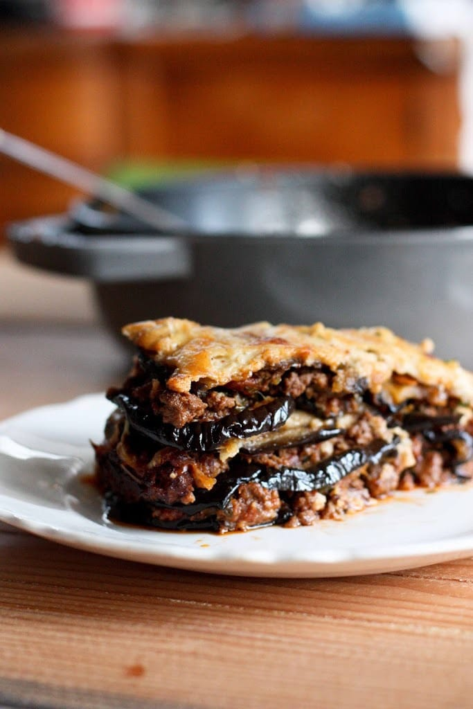 An authentic, delicious recipe for Eggplant Moussaka- perfect for entertaining or serving at a  special gathering. Can be made ahead and baked prior to serving.