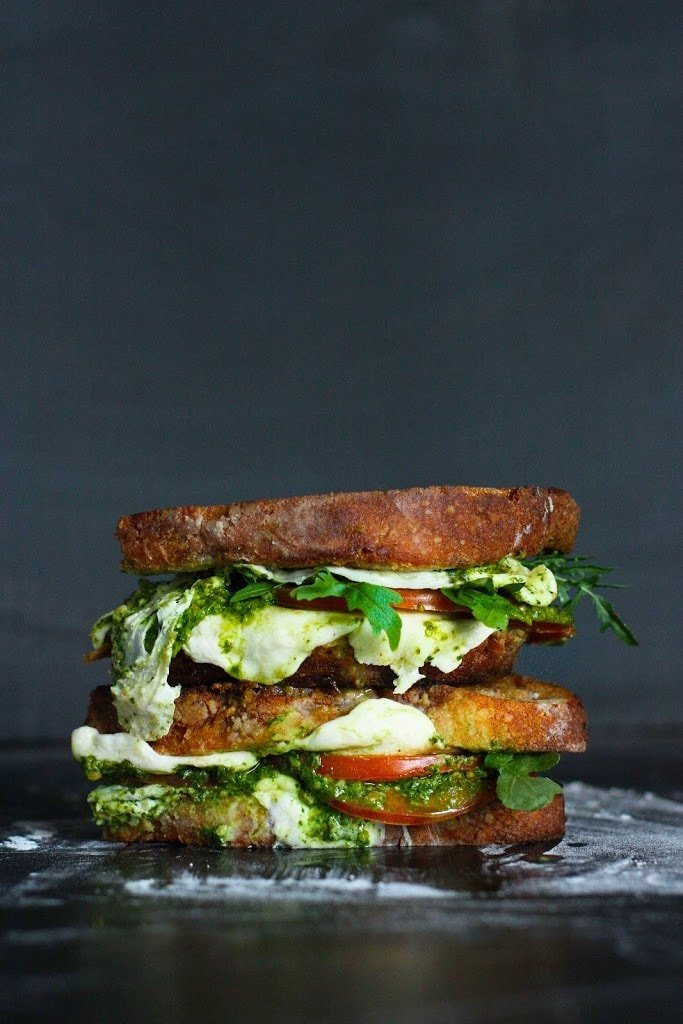 Caprese Grilled Cheese Sandwich with Arugula Pesto- a toasty, melty grilled cheese sandwich with flavorful arugula pesto.
