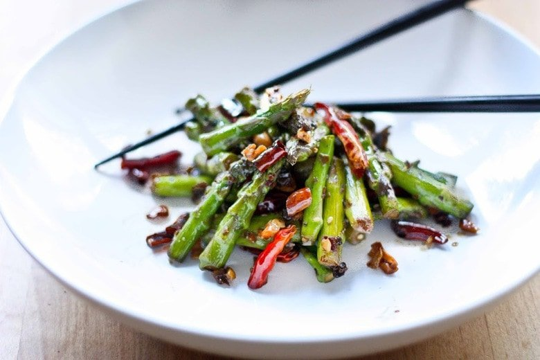 Szechuan Asparagus with Garlic, Ginger and Chilies