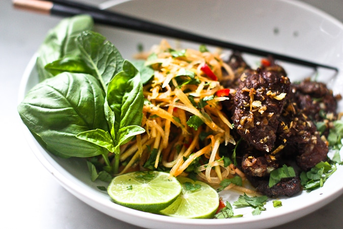 This Vietnamese Beef and Green Papaya Salad-  is light and refreshing but full of so much flavor!  On oldie on the blog still a reader favorite!