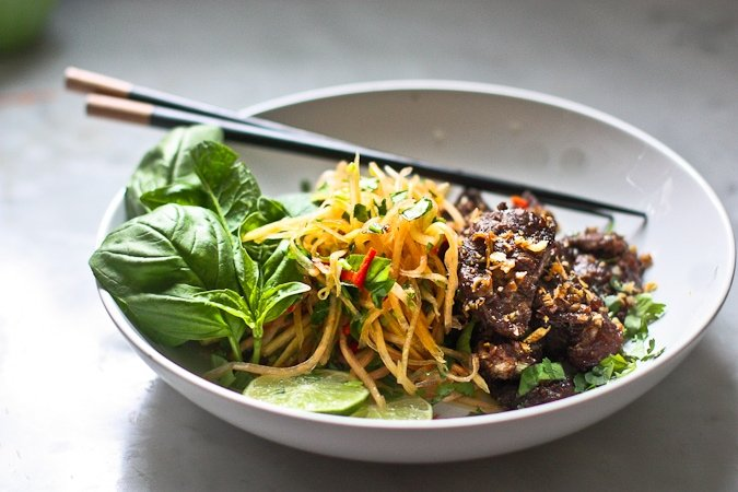 Light and refreshing, Vietnamese Beef and Green Papaya Salad- full of amazing flavor this salad is simple to make using fresh authentic Vietnamese ingredients!  #greenpapayasalad #vietnamesesalad #greenapapaya #lemongrass #vietnamese