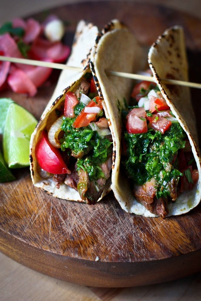 Grilled Steak Tacos with Cilantro Chimichurri Sauce + 15 DELICIOUS SUMMER GRILLING RECIPES!