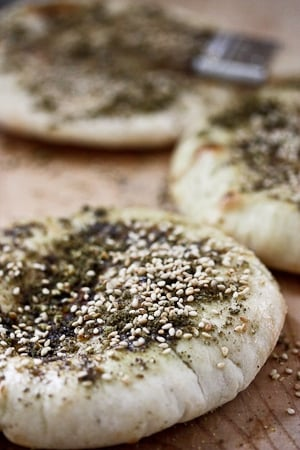 Homemade Pita Bread w/ Zaatar... so easy, a fun thing to do with kids! | www.feastingathome.com