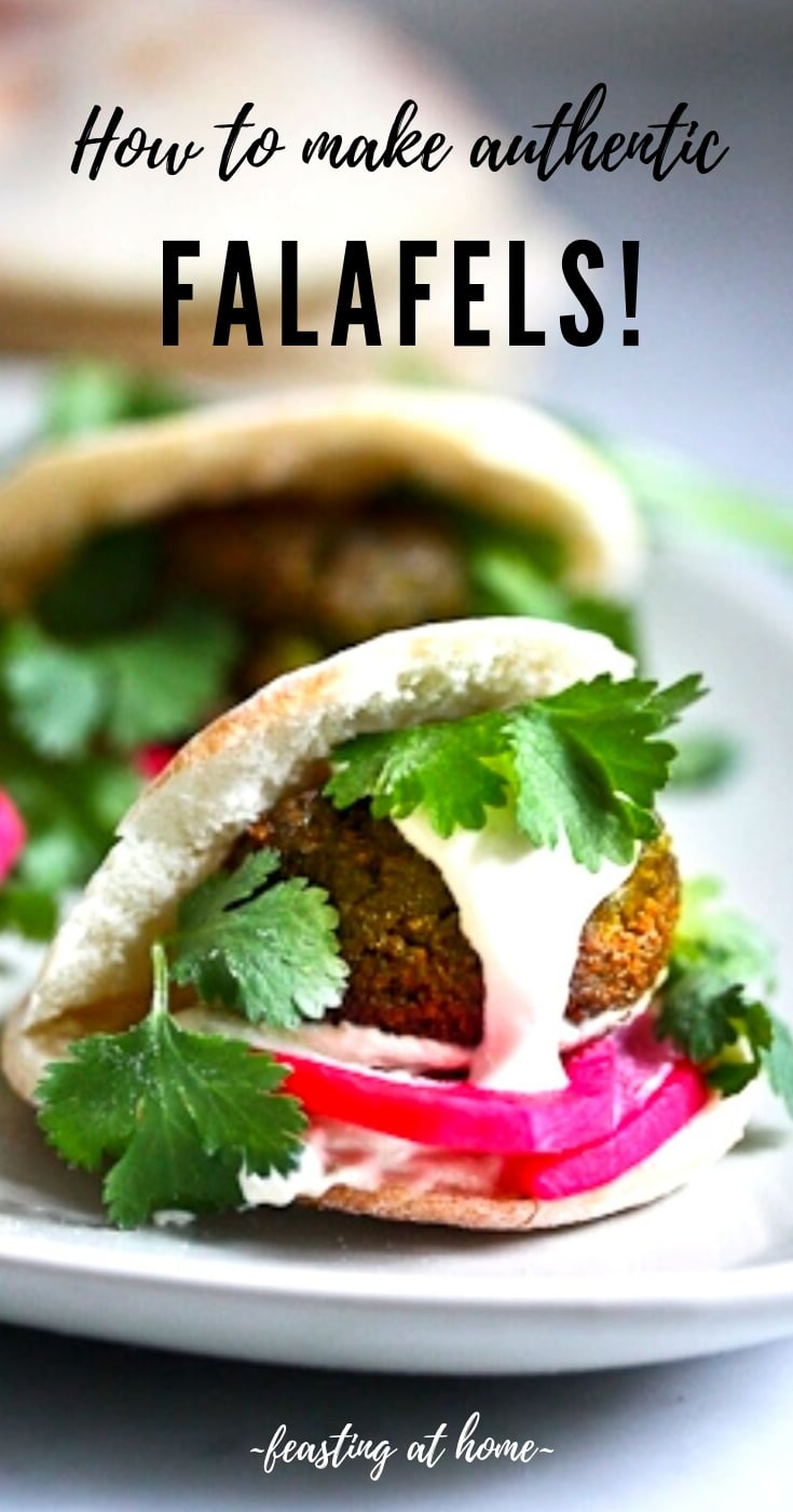 Authentic Falafel Recipe made with soaked chickpeas, not canned. This recipe, hands-down has the BEST texture and flavor! Vegan and Gluten-free. |  #falafel #falafels #falafelrecipe #bestfalafel, #veganfalafelrecipe #easyfalafel #authenticfalafel #easyfalafels