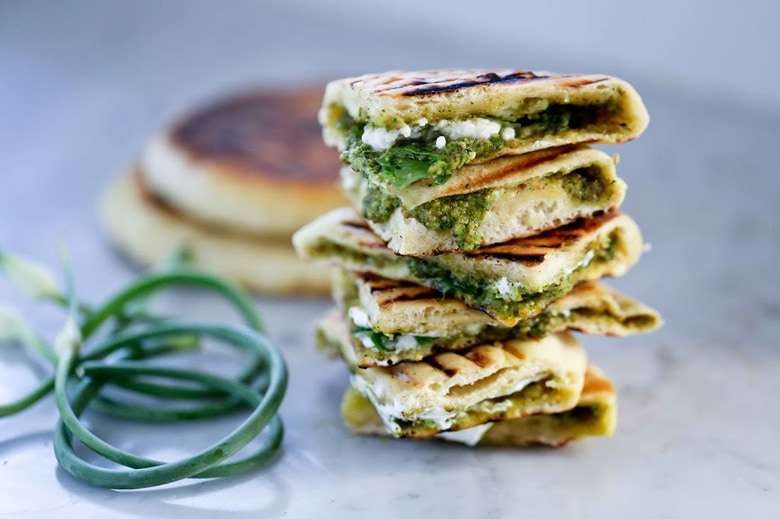 The Best Indian Grilled Naan Bread With Garlic Scape Chutney Feasting At Home