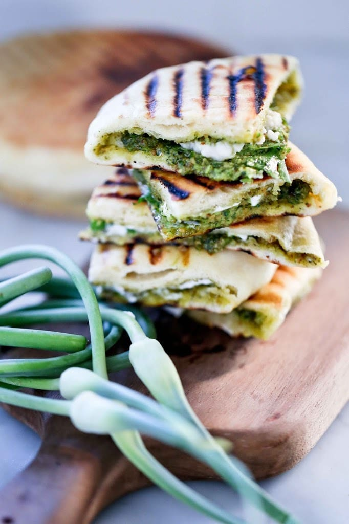 naan bread with garlic scape chutney
