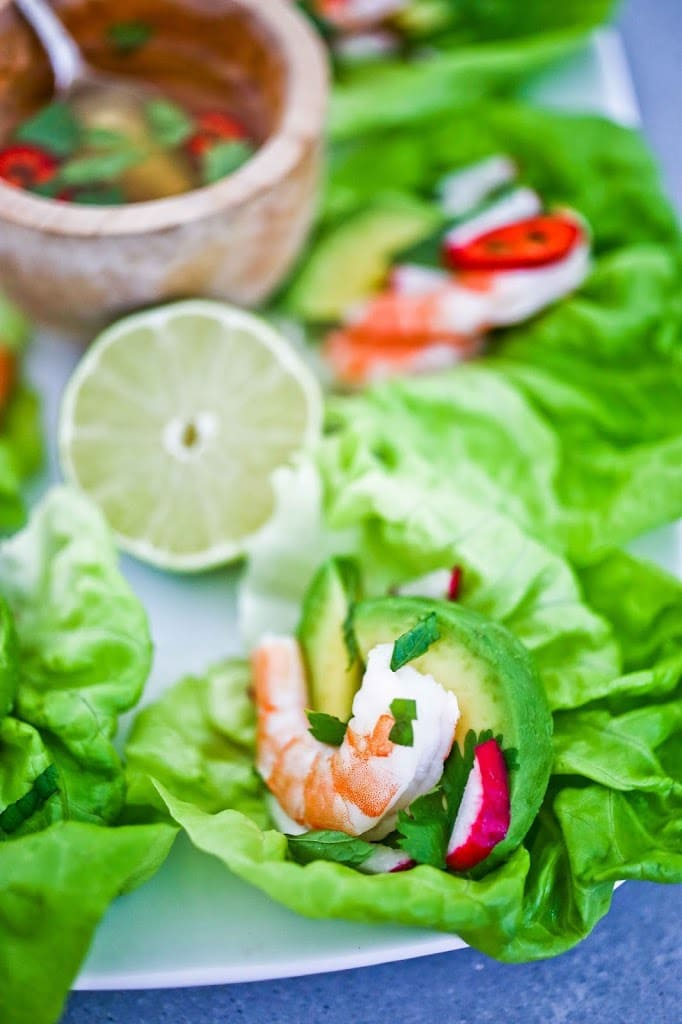 Vietnamese-style Shrimp Lettuce Wraps with Nuoc Cham, a light and refreshing appetizer, perfect for hot summer days. Flavorful, healthy and low in carbs and calories.