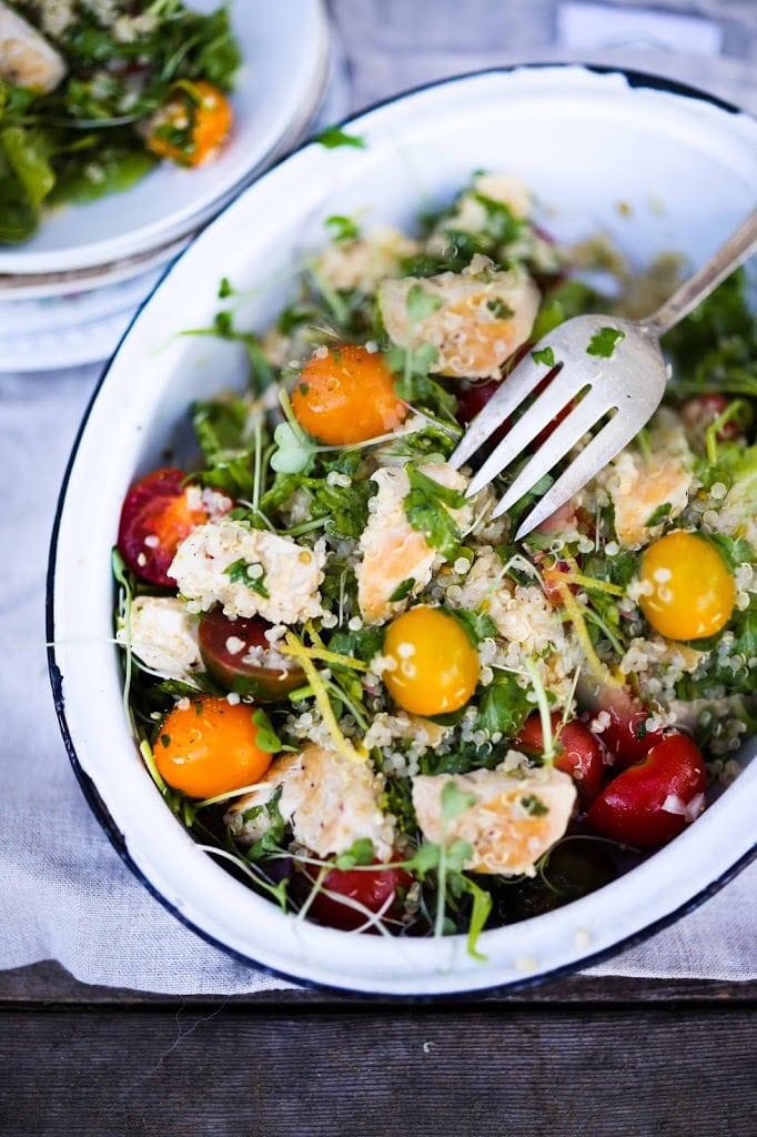 Quinoa Chicken Salad with Heirloom Tomatoes | www.feastingathome.com