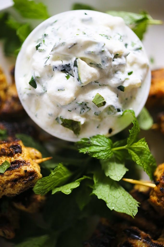 Grilled Tandoori Chicken (or tofu) with Cucumber Mint Raita | www.feastingathome.com