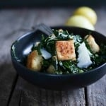 Tuscan Kale Caesar with Millet Croutons   www.feastingathome.com